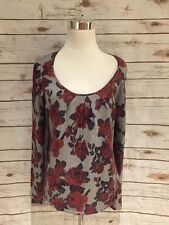 Talbots Sweater Small Gray Red Floral Woman