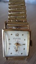 Vintage Old Hilton Solid 14kt Gold Watch 17 Jewel Tank