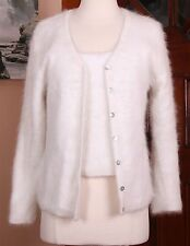 Belldini 60% Angora Twinset Cardigan Sweater & Tank Off White Small Soft Fuzzy!!