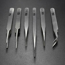 6Pcs Pro Anti-Static Stainless Steel Tweezers Set Maintenance Tools New