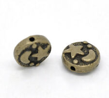 25 Antique BRONZE Tone Round Disc Charm Spacer Beads MOON and STARS 9mm bme0173