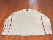 Men's Burberry Golf Grey White Polo Long Sleeve Shirt sz L