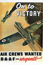 WW2 - Photo affiche australienne - On to Victory - Air Crew wanted RAAF - Urgent