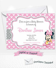 PRINTED Baby Minnie Mouse Baby Shower Invitations Minnie Party Invitations