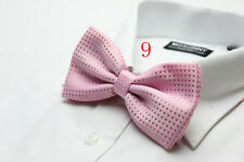 MENS Luxury 2 Layer Baby Pink with Pink Polka Dot Dickie Bow Tie Adjustable