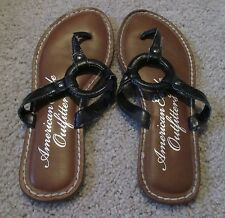 Womens Juniors American Eagle Outfitters Flip Flops Sandals Black Size 7