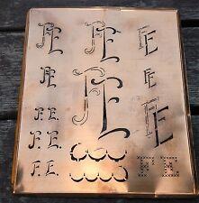 """Monogramm """" FE """" Wäschemonogramm Wäscheschablone Wäschezeichen 11/13 cm KUPFER"""