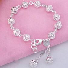"""Unique & Elegant Pure 925 Sterling Silver Round Shape Charms 8"""" Bracelet #011"""