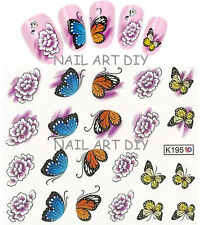 20 stickers-decals nail art water transfer-adesivi unghie-Farfalle e fiori !!