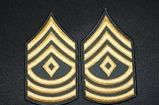 US Army Dress Class A Uniform Green First Sergeant E-8 Rank Stripes Patch 1 pair