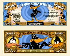 2 Daffy Duck Million Dollar Bills Funny Money Novelty Notes with Free Shipping