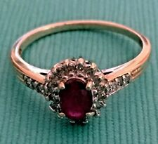 Lovely Estate 10K Yellow Gold Ruby & Diamond Ring, Size 7.25