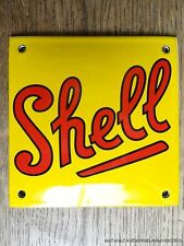 SUPERB VINTAGE SQUARE SHELL OIL ENAMEL METAL SIGN PLAQUE