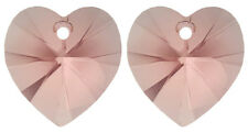 2 SWAROVSKI XILION CRYSTAL GLASS HEART PENDANTS 6228, BLUSH ROSE, 10 MM