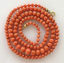 Vtg Natural Salmon Red Coral Necklace Graduated Bead Antique Victorian 23.5""