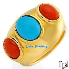 US$1379 FPJ Breathtaking High Quality Ring with Coral Turquoise 14K Gold 80% OFF