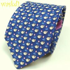 SALVATORE FERRAGAMO royal blue with SHEEP & pink Flowers silk MENS tie NWT Auth