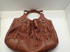 Authentic Cole Haan Saddle/Brown Village Weave Purse Handbag