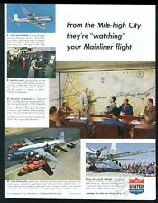 1952 United Airlines Denver headquarters Big Board plane 5 pix vintage print ad