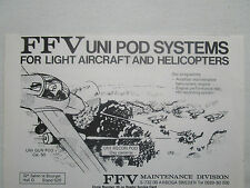 4/77 PUB FFV UNI GUN POD UNI RECON POD LIGHT AIRCRAFT HELICOPTER ORIGINAL AD