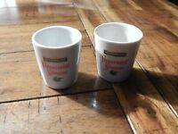 Shot Glass - Set of 2 - Ceramic - *Hiram Walker - Peppermint Schnapps* - Vtg.