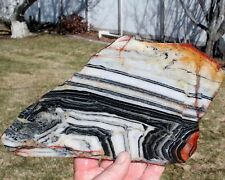 BLACK & WHITE PIN STRIPE JASPER SLAB 310 Gram Gemstone/Jasper/Rock/agate/mineral