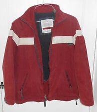 Abercrombie mens outdoor jacket white stripe on burgundy size L