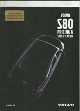 VOLVO S80 DETAILED PRICES, OPTIONS AND SPECIFICATIONS BROCHURE DECEMBER 1999