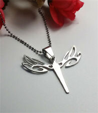 Women's Girl Fashion Stainless Steel Silver Hollow Dragonfly Pendant Necklace *2