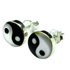 Pair  Of  Sterling Silver  925  Ying Yang ( 8 mm )   Ear Studs  !!       New  !!