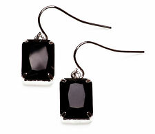 ELEGANT BLACK/SILVER GOTHIC INSPIRED PLAIN EMERALD CUT STONE EARRINGS(ZX12)