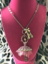 Betsey Johnson Tzarina Vintage Ballerina Dancer Ballet Slippers Long Necklace