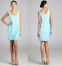 NEW NWT Celine Paris Ethereal Aqua Silk Chiffon Sleeveless Bubble Dress 36 2 4