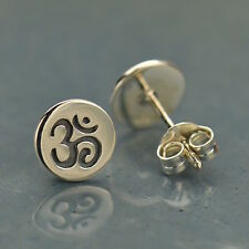 Yoga Jewelry Spiritual Sterling Silver Ohm Earrings Disk Post Stud Earrings UK