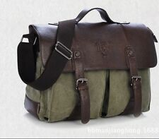 Vintage Men's Canvas Leather Messenger Shoulder Bag Briefcase Satchel Army Green