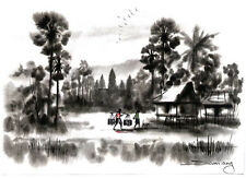 Original Ink and Water Color – Farm Scene with Bungalow and People -        5130