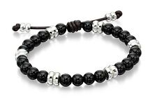 Fred Bennett Mens Jewellery Silver And Black Onyx Beaded Bracelet