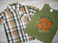 Set GYMBOREE Gr. 3T 92 98 Hemd Shirt T-Shirt Trägershirt braun orange kariert