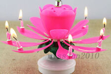 Rotating Candle Rotatable Music Musical Blossom Lotus Flowers Birthday Candle --
