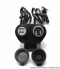 Cliff-Top® Motorcycle Handlebar USB Power Outlet (USB Charger+Cigarette Socket)