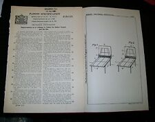 TABLE TENNIS AND LIKE TABLE FOR INDOOE GAMES PATENT. FROBISHER, DERBYSHIRE 1938