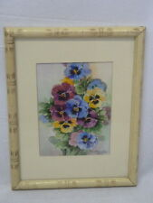 BESS E GOURLEY PANSIES FLORAL WATERCOLOR  PAINTING SIGNED AND DATED 1956