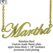 "Custom Made Martha Name Stainless Steel Gold Plated Pendant w/18"" Necklace new"