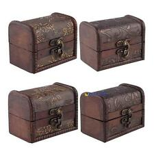 Stylish Vintage Small Metal Lock Jewelry Treasure Chest Case Manual Wood Box