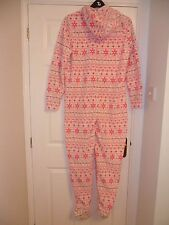 New Look Lovely new pink white onesie size s 8-10 all in one cosy