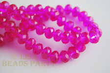100pcs 3x2mm Faceted Rondelle Crystal Glass Loose Spacer Beads Rose Red Findings