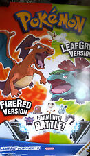 NINTENDO GAMEBOY ADVANCE SP POKEMON FEU ROUGE/VERT FEUILLE GRANDE AFFICHE ORIGINALE