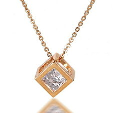 Fashion Chain Necklace White Cubic Zirconia yellow Gold Filled Jewelry Pendant