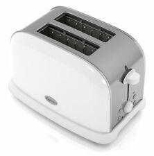 White & Stainless Steel 2 Slice Toaster w removable tray & bagel function