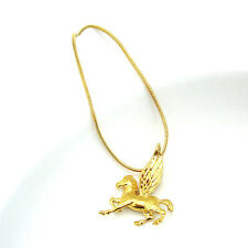"18K Yellow Gold Filled Flying Horse Pendant Necklace 18""Chain Link GF Jewelry"